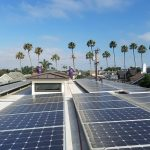Cleaning solar panels in a beautiful home in Orange County